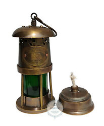 Antique Brass Minor Oil Lamp Lantern Lighting Green Color Lamp Collectible Gift