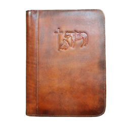 Nocona Cowboy Prayer Leather Embossed Bible Cover Tan