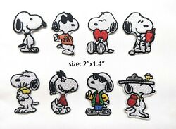 4 Pcs Beagle Cute Dog Snoopy Peanuts Embroidery Iron on Patch Sew on Fabric