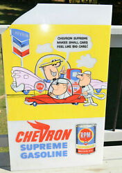 Vintage Chevron Supreme Oil And Gasoline Cartoon Sign Plastic 41 Tall Advertising