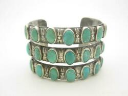 Navajo Native American Sterling Silver Turquoise Eagle 3 Row Cuff Bracelet - A
