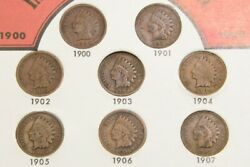 Vintage Indian Head Pennies Collectors Case One Cent 1900-1907 Lot O Njl018794