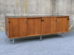 Mid Century Modern Florence Knoll Leather Handle And Walnut Credenza Sideboard