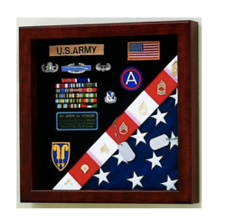 American Made Us Flag Army Medals Display Case Shadow Box