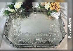 Vintage Serving Tray Silver Plated Pierced Hand Etched Gallery Tray - Persian