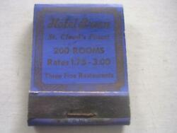 1930's Hotel Breen 200 Rooms Rates 1.75-3.00 Daily St Cloud Mn Empty Matchbook