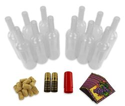 12 Clear Glass Wine Bottles 750ml With Corks And Labels