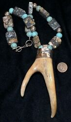 Native American Indian Black Eagle Necklace, Antler, Turquoise, Copper, Silver