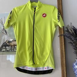 Castelli Yellow High Visibility Cycling Jersey Women's Small Shirt Top Zip
