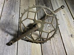 Antique Bike Bicycle Crankset One Piece Crank Skip Tooth Chainring Inch Pitch