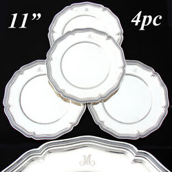 Swiss Hallmarked Solid Silver 4pc 11 Tray Plate Or Charger Set M Monograms