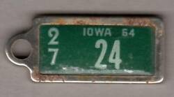 1964 Iowa Dav License Plate Key Chain Tag For Decatur County - Low Numer 24