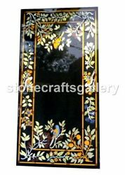 26x52 Black Marble Counter Table Top Floral Inlay Art Handicraft Decorate B041