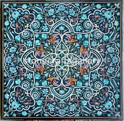 3'x3' Black Marble Dining Table Top Turquoise Floral Inlay Arts Home Decors B051