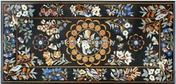 28x53 Black Marble Dining Table Top Marquetry Floral Inlay Handmade Decor B053