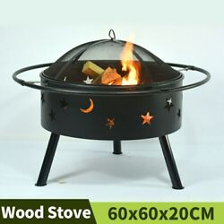 Stars And Moons Fire Pit Charcoal Furnace Outdoor Heater Garden Barbeque Grill