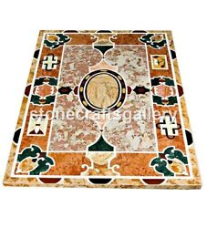 4and039x3and039 Marble Dining Table Top Pietra Dura Mosaic Inlay Art Restaurant Decor B064