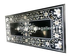 5and039x3and039 Black Marble Dining Table Top Mop Inlay Floral Stone Work Kitchen Dec B078