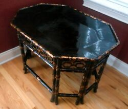 Vintage Maitland-smith Campaign Style Faux Tortoise Shell Bamboo Tray Table