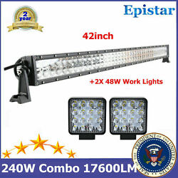 240w 42inch Led Light Bar Flood Spot Combo+48w Pods Cube Offroad Trailer Ford