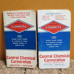 Lot Farmrite Central Chemical Lebanon Pa Insecticide Fertilizer Notebook 42 And 54