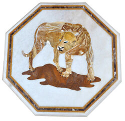 24 White Marble Coffee Table Top Precious Lion Inlay Art Interior Decors H2201