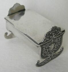 1896 Birmingham Scarce Silver And Gilt Two Compartment Childand039s Cradle Stamp Box