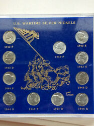 Us Wartime Silver Nickels Uncirculated 10 Coin Us Set