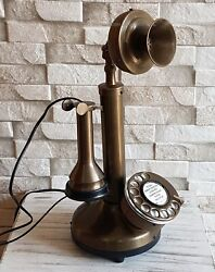BRASS FULLY WORKING CANDLESTICK ROTARY DIAL LANDLINE TELEPHONE BEST GIFT