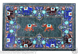 30x42 Green Marble Dining Table Top Lapis Elephant Inlay Hallway Decors H1993