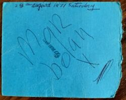 Great Signed Concert Ticket Rotherham Sat 28th August 1971 By Marc Bolan T-rex