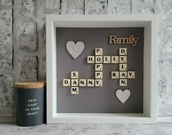 C Scrabble Picture Frame Family Friends New Home Love Engagement Wedding Grey