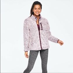 Victoria Secret Pink Frosted Plum Sherpa Full Zip Jacket ❤️ X-small - Brand New
