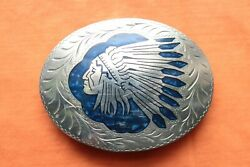 Vtg Adm Blue Colored Mother Of Pearl Inlay Indian Chief Western Belt Buckle