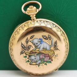 1885and039s Longines 18k Solid Gold Enamel Cats Diamond Case Pocket Watch