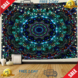 Trippy Mandala Tapestry Wall Hanging Hippie Bohemian Tapestry Emerald Tapestry