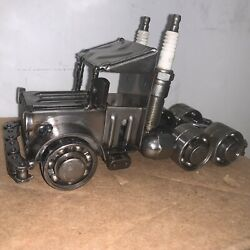 Custom Metal Semi Tractor And Trailer Truck Art Work Trucking Collectible 1 Of 1