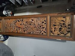 Two Small Vintage Asian Hand Carved Wood Panel./ Door /