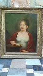 Antique 19c Original Oil On Canvas Painting Portrait Of Noble Lady In Red Shawl