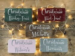 Personalsed Solid Chunky Wood Christmas At The Sign Block
