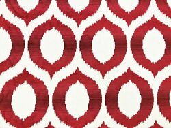 Water And Stain Resistant Burgundy Red Wine Ivory Ikat Chenille Upholstery Fabric