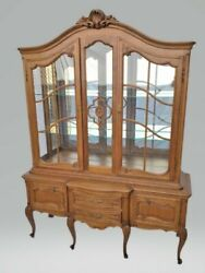Vintage Country French / Louis Xv Oak Display China Cabinet Display Hutch
