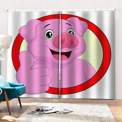 Pink Love Nose Red Circle Fat Pig Printing 3d Blockout Curtains Fabric Window