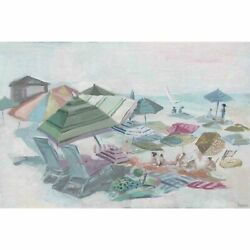 Handmade Crowded Beach Print on Wrapped Canvas $133.49