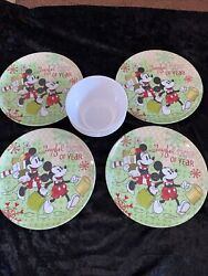Zak Designs Mickey And Minnie Mouse-joyful Time Of Year- 4 10andrdquo Plates And Bowls -new