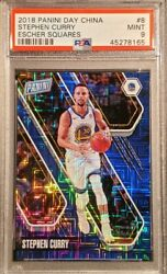 2017 Stephen Curry Panini China Day Escher Squares 21/25 Graded Psa Mint 9