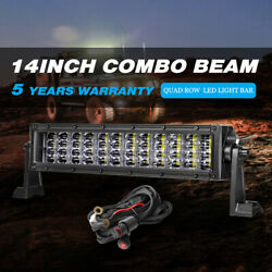 12inch Combo Led Light Bar Quad Row Driving Suv Atv Boat Off Road With Wiring