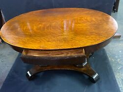 Rare Antique Oval Oak Library Table Double Pedestal W/drawer Original Finish