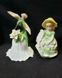 Lot Of Two Hummingbird And Girl Porcelain Bells