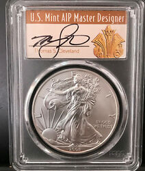 2008-w Cleveland Art Deco Reverse Of '07 Burnished Silver Eagle Pcgs Sp70 Rev
